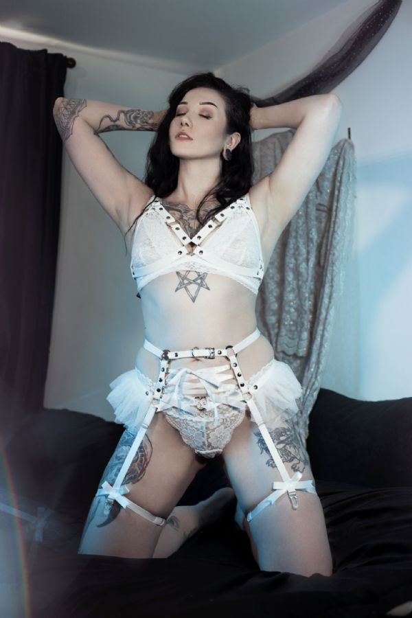White Faux Leather Cage and Corset Harness Set